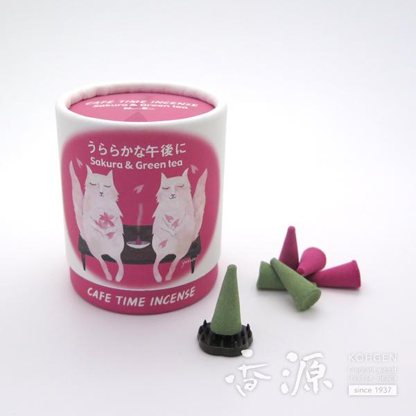 日本香堂のお香カフェタイムインセンスサクラ&グリーンティーコーン型お香