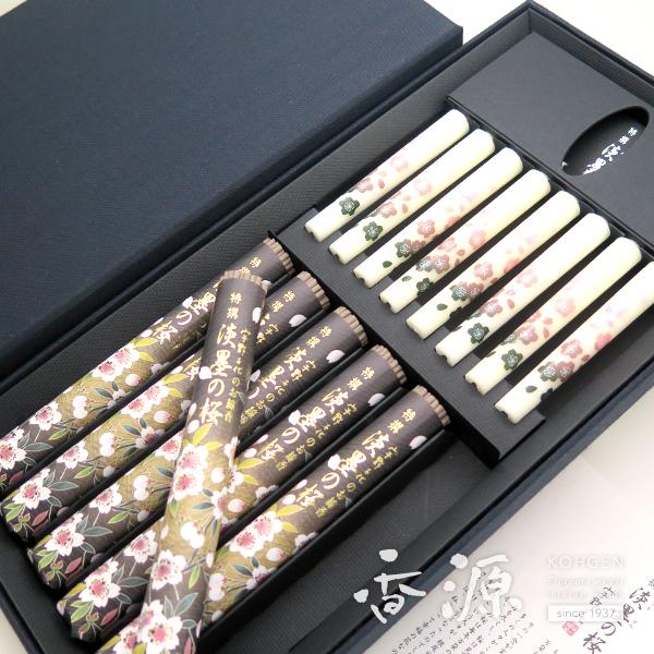 日本香堂のギフト特撰淡墨の桜化粧箱絵ローソクセットの拡大写真3