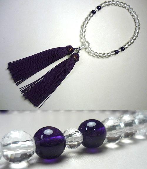 女性用数珠 水晶108面切子 紫水晶4点仕立て 薄古代紫房
