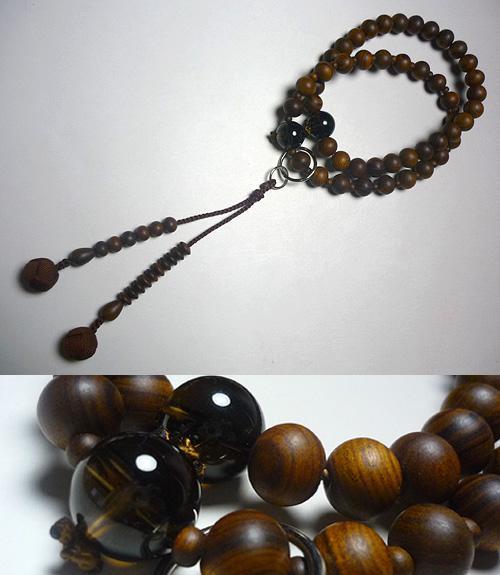 男性用数珠 栴檀 茶水晶仕立て 浄土宗 こげ茶房