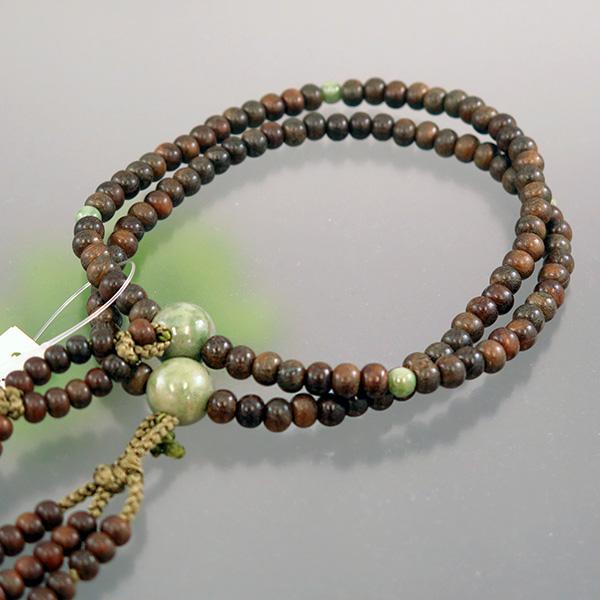 男性用数珠 緑檀 独山玉仕立て 日蓮(法華)宗 深草房