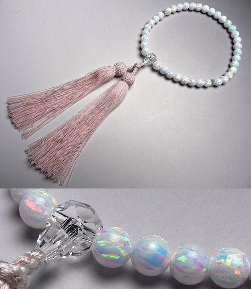女性用数珠 京都オパール7mm玉 水晶切子仕立て ピンク房