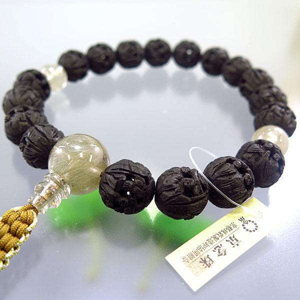 男性用数珠 黒羅漢彫 18玉 シルバールチル仕立て 限定品
