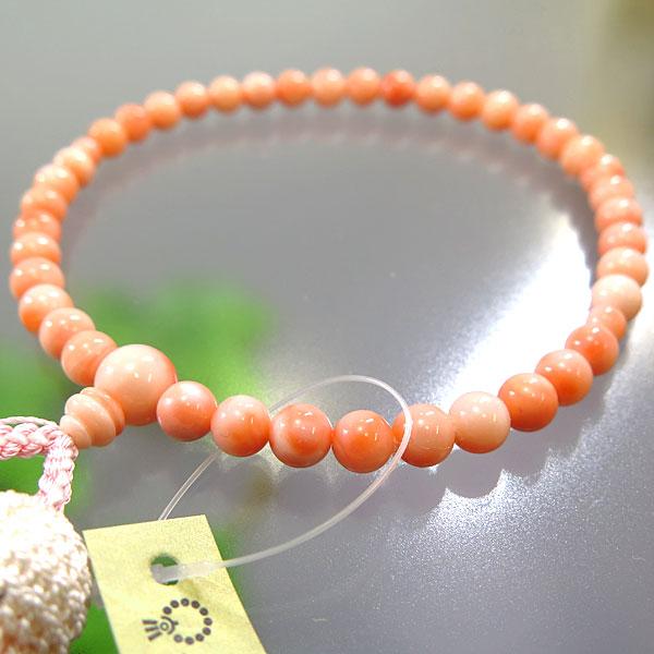 女性用数珠 深海珊瑚 6.5mm 共仕立て 薄ピンク房