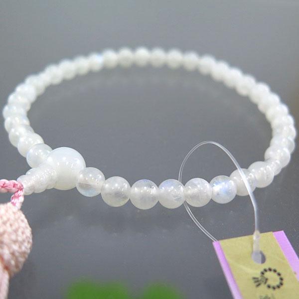 女性用数珠 ムーンストーン 7mm玉 共仕立て 薄ピンク房 限定品