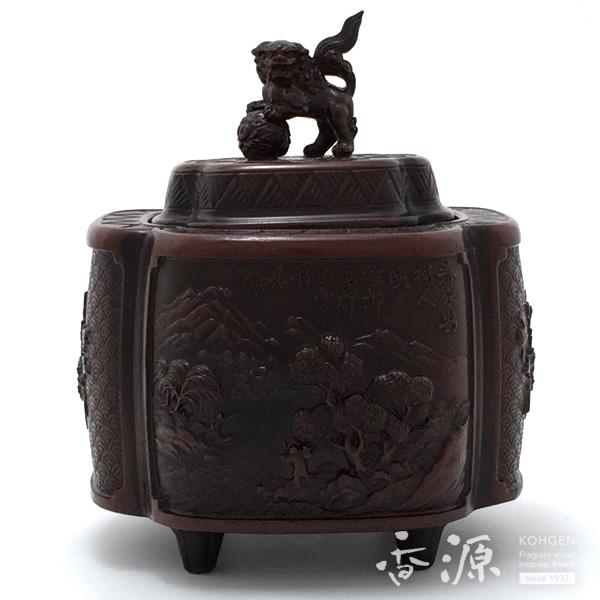 高岡銅器 木瓜山水香炉 宣徳色