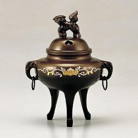 高岡銅器 香炉 カン付象眼香炉 鍋長色