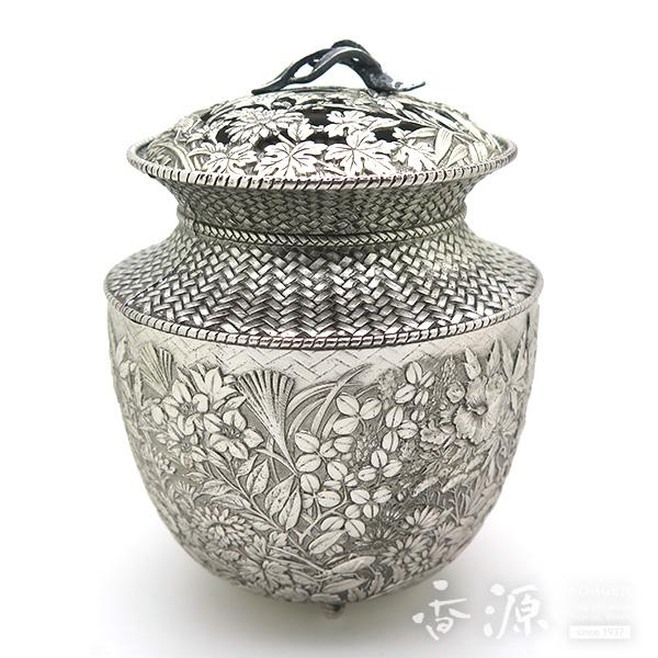 高岡銅器 七草 銀色 香炉