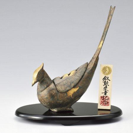 高岡銅器 雉子香炉 台・菊紋木札付