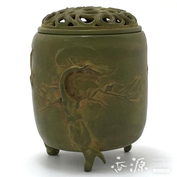 高岡銅器 香炉 三友文香炉 中 青銅色