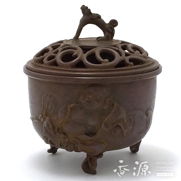 高岡銅器 香炉 布袋文香炉 焼朱銅色