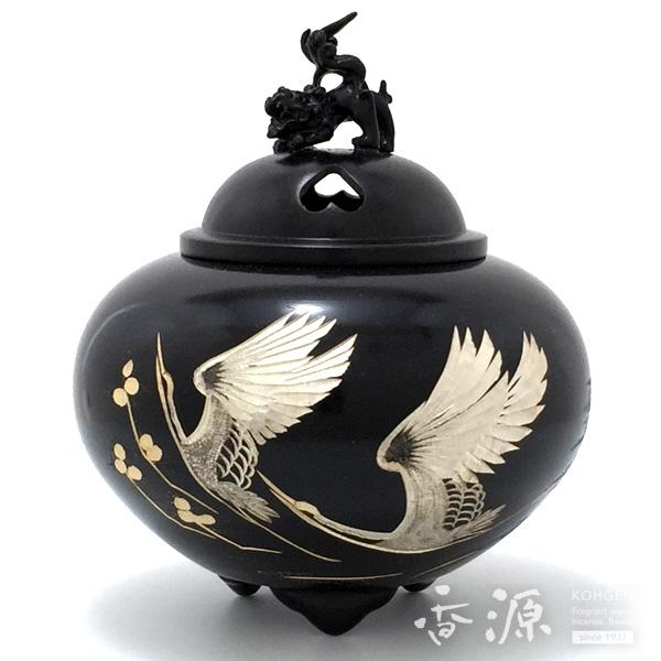 高岡銅器 香炉 平丸獅子蓋香炉 双鶴 彫金