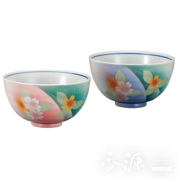 九谷焼 組飯碗(夫婦茶碗) 色絵花文