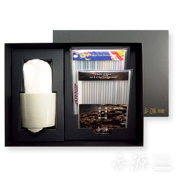 香源 ギフトセット お香20種セット&聞香炉(貫入ねずみ青磁)